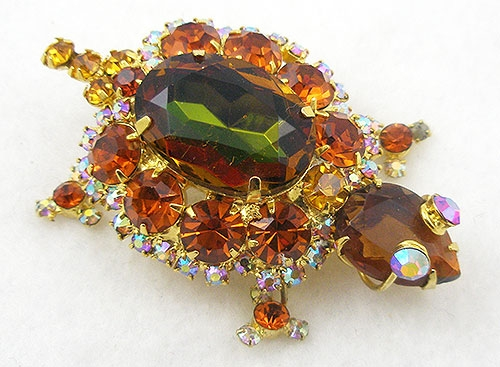 Figural Jewelry - Snakes Turtles Reptiles - DeLizza & Elster Turtle Brooch