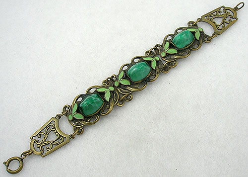 Art Nouveau - Czech Green Glass Bracelet