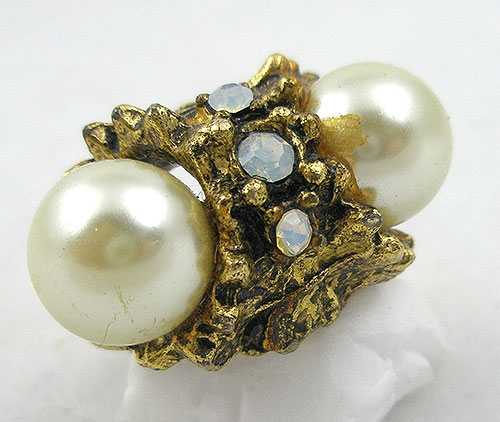 Pearl Jewelry - Vintage Double Faux Pearl Ring