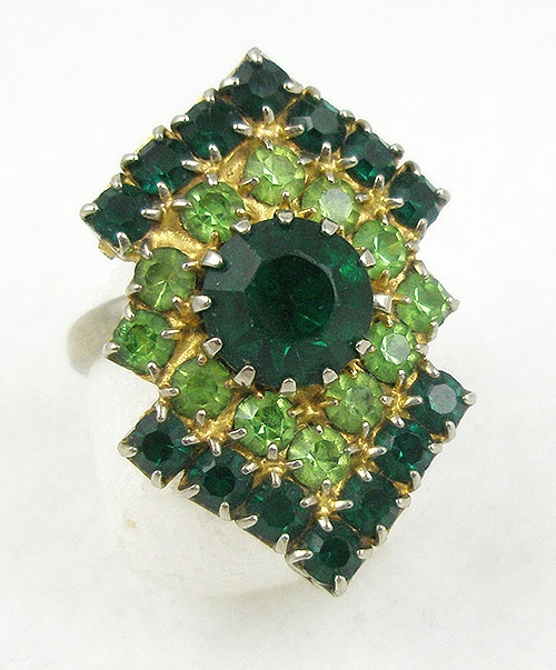 Rings - Vintage Green Rhinestone Ring