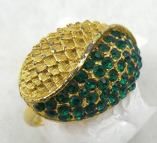 Rings - Vintage Green Rhinestone Ladies Ring