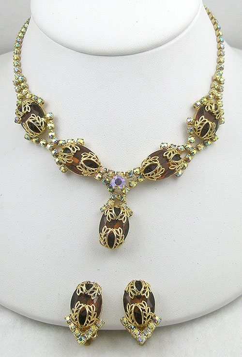 Sets & Parures - Smoked Topaz & Aurora Rhinestone Necklace Set