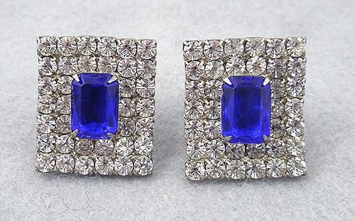 Earrings - Rhinestone & Faux Sapphire Earrings