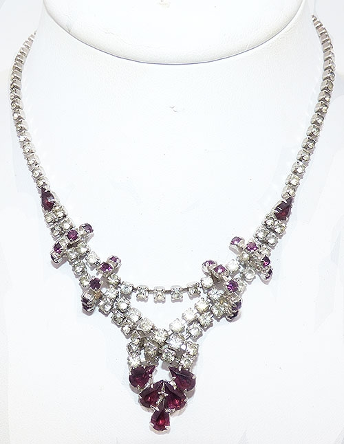 Bridal, Wedding, Special Occasion - Amethyst and Clear Rhinestone Necklace