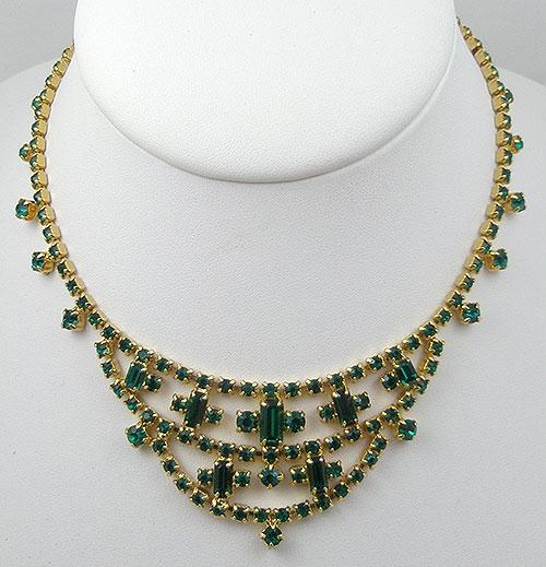Necklaces - Vintage Green Rhinestone Necklace