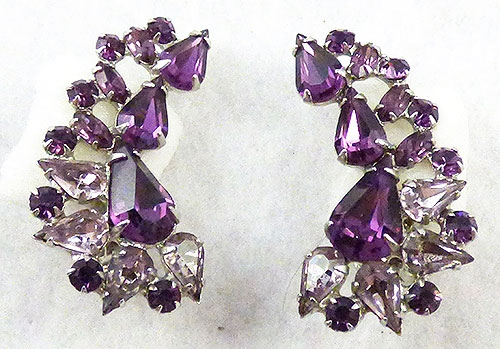 Earrings - Amethyst and Lavender Rhinestone Earrings