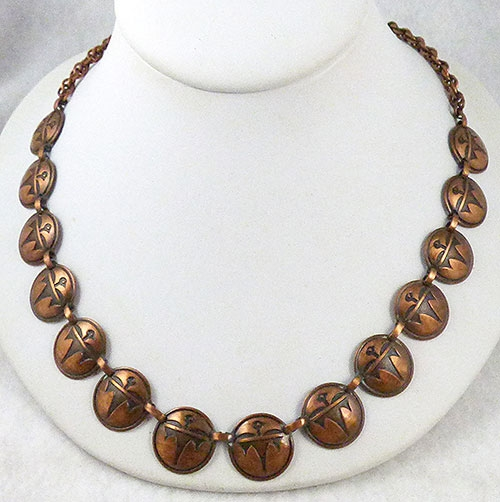 Figural Jewelry - Birds & Fish - Copper Thunderbird Link Necklace