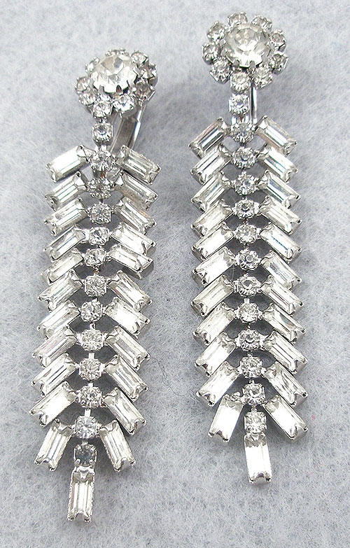 Bridal, Wedding, Special Occasion - Vintage Rhinestone Baguette Earrings
