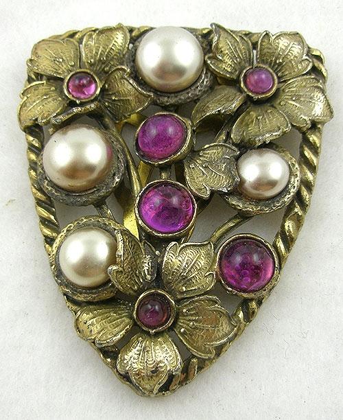 Dress & Fur Clips - 1930's Gold Flowers Purple Cabochon Dress Clip