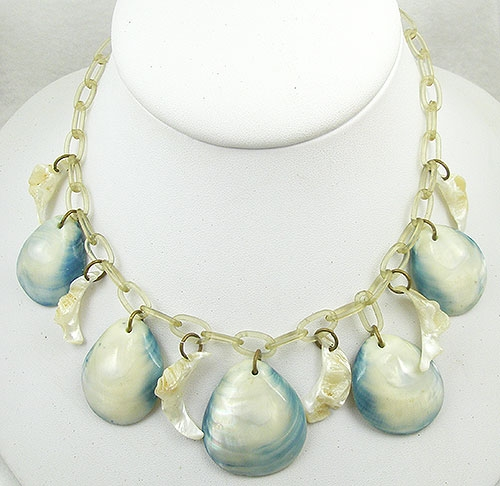 Necklaces - Vintage Shell and Celluloid Chain Necklace
