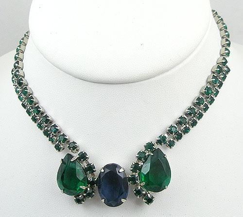 Necklaces - Vintage Green & Blue Rhinestone Necklace