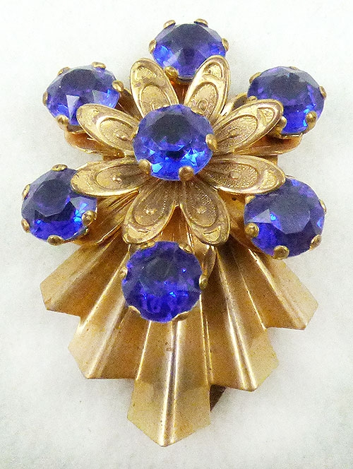 Florals - Retro Blue Rhinestone Floral Dress Clip