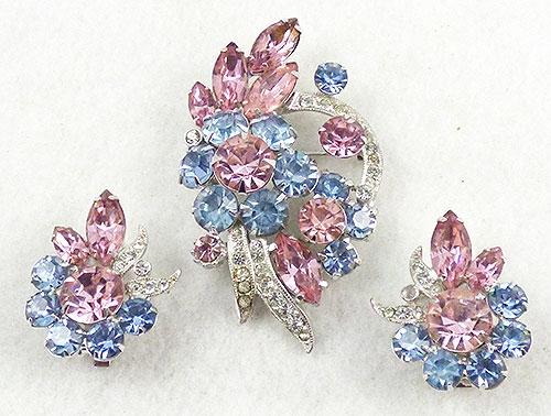 Eisenberg - Eisenberg Pink and Blue Rhinestone Brooch Set