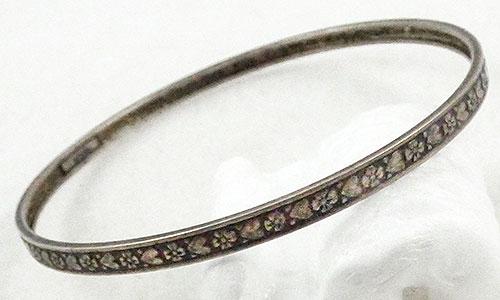 Bracelets - Vintage Hearts and Flowers Sterling Bangle