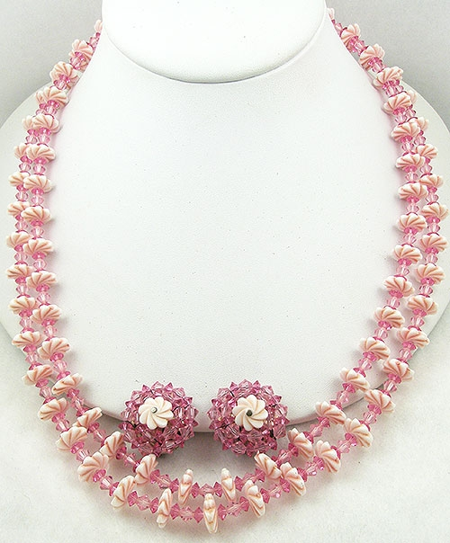 Crystal Bead Jewelry - Pale Pink Flower & Pink Crystal Necklace Set