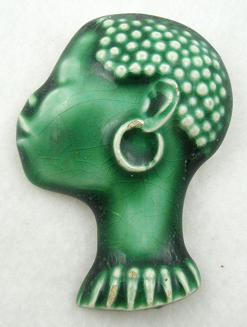Figural Jewelry - People & Hands - 1940's California Pottery African Woman Brooch