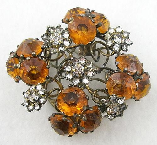 Autumn Fall Colors Jewelry - Vogue Sterling Amber Rhinestone Brooch