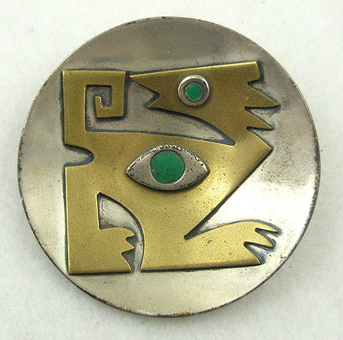 Misc. Signed M-R - Estela Popowski Mixed Metals Brooch
