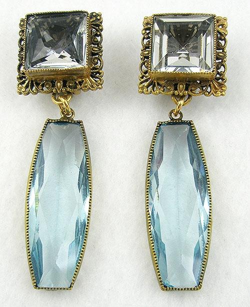 Joseff of Hollywood - Joseff of Hollywood Aqua Glass Earrings