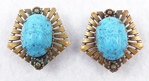 Earrings - Joseff of Hollywood Turquoise Scarab Earrings