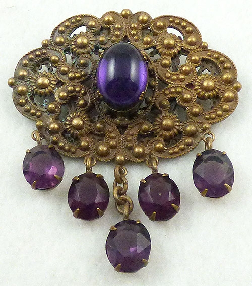 Joseff of Hollywood - Joseff of Hollywood Etruscan Style Brooch