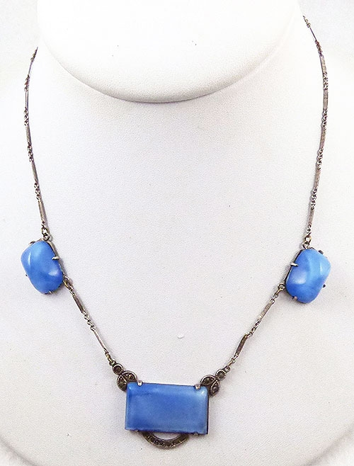 Necklaces - Art Deco Sterling Blue Satin Glass Necklace