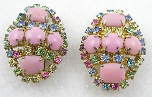 Spring Pastel Jewelry - Vintage Pink Glass Pastel Rhinestone Earrings