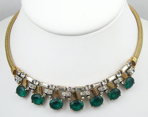 Necklaces - Mazer Emerald Rhinestone Necklace