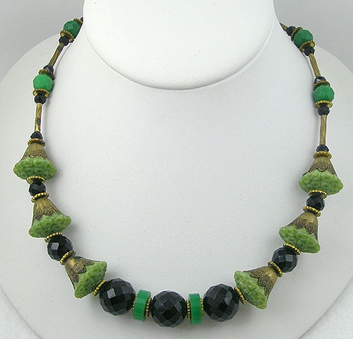 Necklaces - Czech Art Deco Galalith Bead Necklace