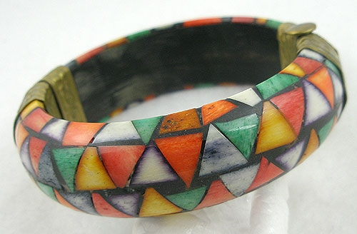Miscellaneous Countries - India Dyed Bone Hinged Bracelet