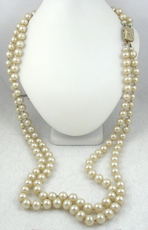 Pearl Jewelry - Vendome Double Strand Faux Pearl Necklace