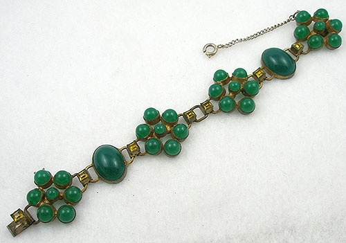 Art Deco - Vintage Green Glass Cabochon Bracelet