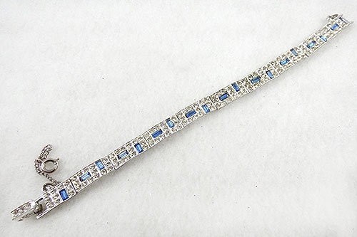 Bracelets - Art Deco Sapphire Baguette Rhinestone Bracelet