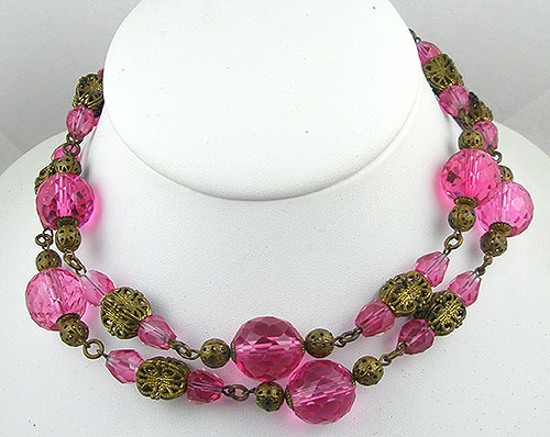 Crystal Bead Jewelry - Vintage Pink Crystal & Filigree Bead Necklace