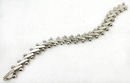 Mid-Century Modern - Modernist Sterling  Barbell Link Bracelet