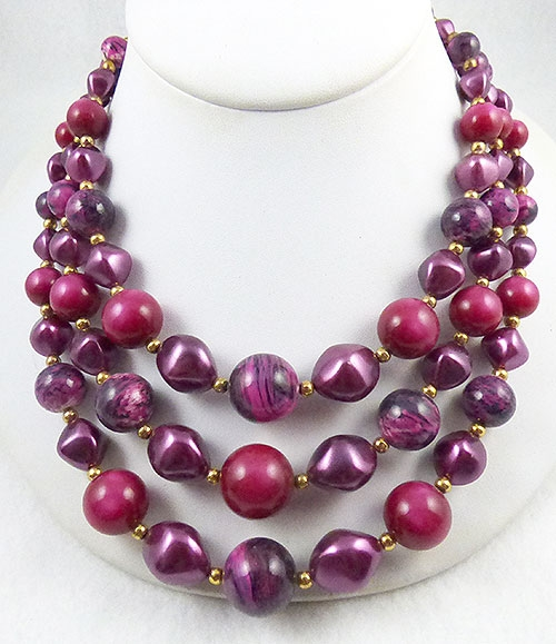 Newly Added Magenta and Purple Beads Necklace