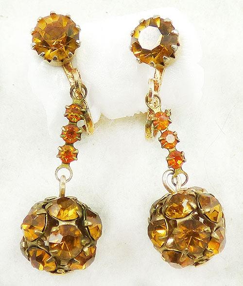 Earrings - Topaz Rhinestone Dangling Bead Earrings