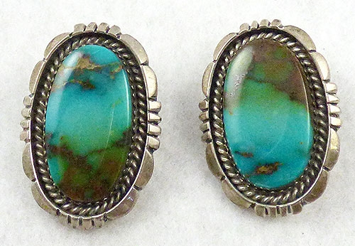 Semi-Precious Gems - Leroy Sandoval Sterling Turquoise Earrings