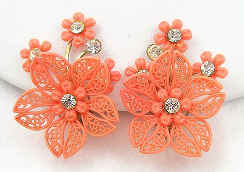 Florals - Vintage Orange Flower Earrings
