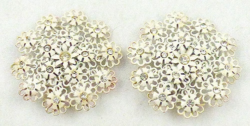 Florals - White Enamel Flowers Earrings