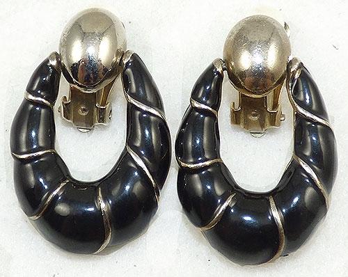 Newly Added Black Enamel Door Knocker Earrings