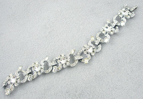 Bridal, Wedding, Special Occasion - 1950's Art Deco Style Rhinestone Bracelet