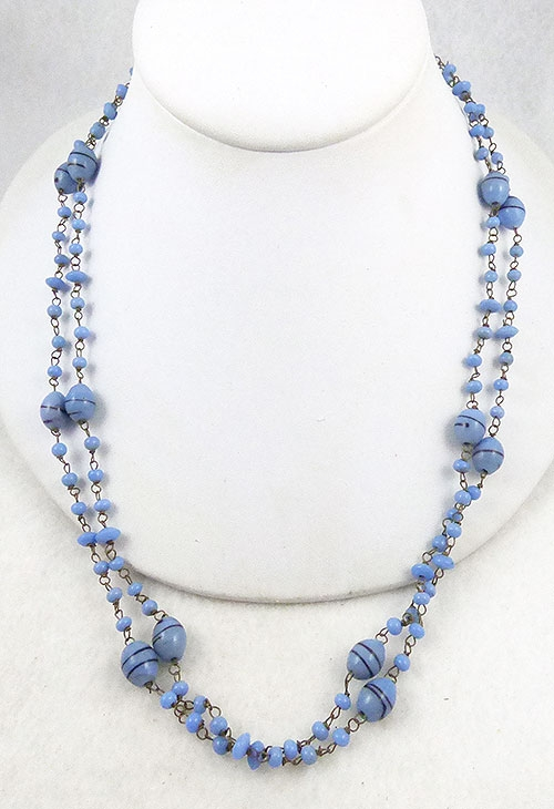 Necklaces - Sky Blue Art Glass Bead Chain Necklace