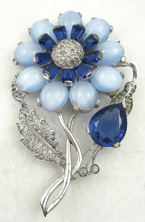 Florals - Vintage Blue Glass Moonstone Flower Brooch