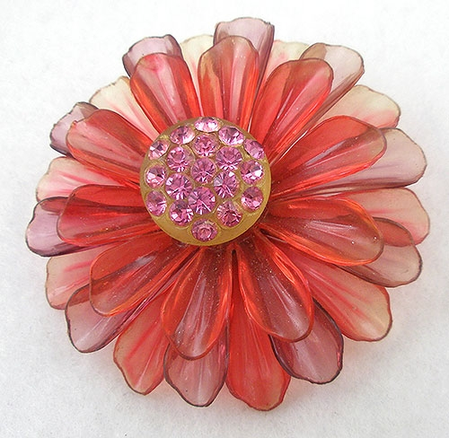 Florals - Pink Cellulose Acetate Flower Brooch