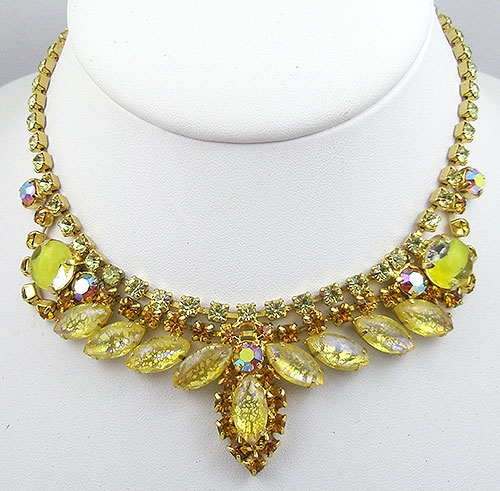 Necklaces - Yellow Crackle Glass Necklace