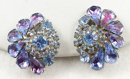 Earrings - Heliotrop and Light Blue Rhinestone Earrings