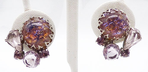 Earrings - Lavender Dragon's Breath Cabochon Earrings