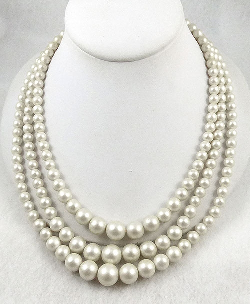 Pearl Jewelry - Simulated White Pearl Triple Strand Necklace