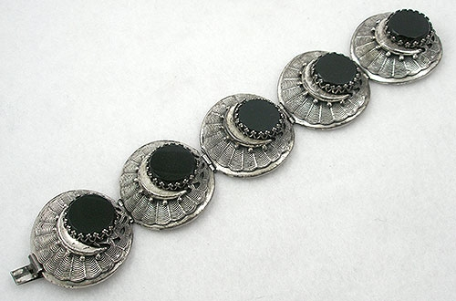 Bracelets - Silver Web Black Glass Bracelet